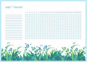 月平面矢量模板的习惯跟踪器以春天野花为_9189312