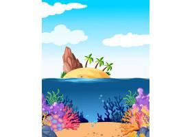 有岛屿和珊瑚在水下的场景_4709081