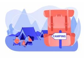 森林里的帐篷游客徒步旅行背包度假夏_11664289