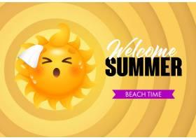 欢迎夏天海滩时间刻有太阳卡通人物_4445037