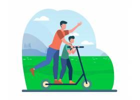 年轻的父亲和儿子骑着电动滑板车家庭风_10174068