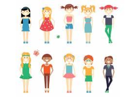 微笑滑稽的女孩角色集女学生穿着连衣裙_10701055