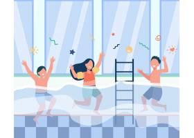 快乐的孩子们在游泳池里玩得开心穿着泳衣_10613068
