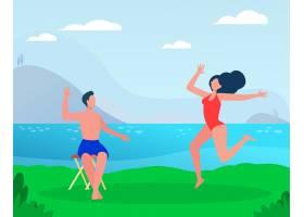 快乐的情侣在海上享受夏日休闲时光海边_11235612
