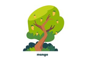 扁平设计的带果芒果树_12067371