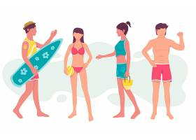 扁平设计的海滩人们挤在一起_9905142