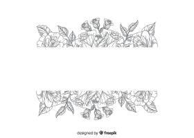 带有空白横幅的逼真手绘花卉_5313135