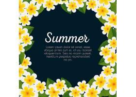 带有花朵和热带树叶的夏日卡片_5827556