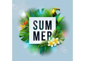 带有花朵和热带棕榈叶的暑假插图_4939446