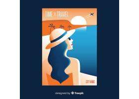带海滩的平坦复古旅游海报_5084432