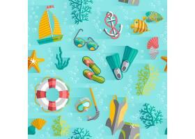 带游泳衣和潜水通气管的热带岛屿纪念品包装_3975521