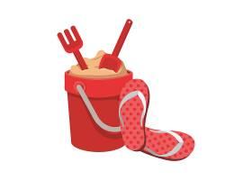 带玩具和拖鞋的沙桶_4739895