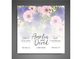 带花模板的婚礼邀请卡套装_3863708