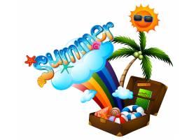带行李箱和阳光的夏日主题_4725196