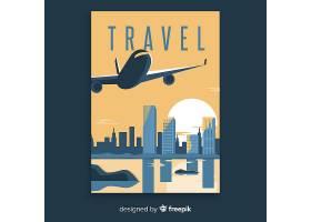 带飞机的平坦复古旅游海报_5084435