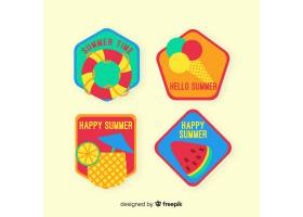 平坦的夏季徽章系列_4366153