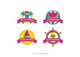 平坦的夏季徽章系列_4380164