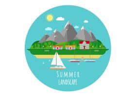 平坦的夏季风景插图有山有海房子和城镇_10700879