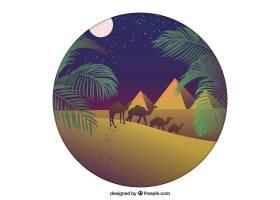平坦的夜景有埃及金字塔和骆驼大篷车_2730924