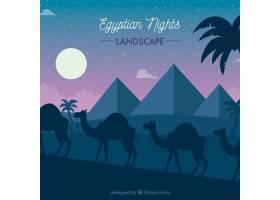 平坦的夜景有埃及金字塔和骆驼大篷车_2730925