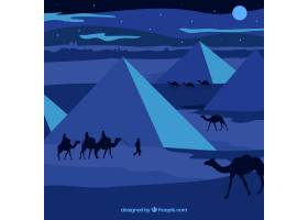 平坦的夜景有埃及金字塔和骆驼大篷车_2730927
