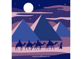 平坦的夜景有埃及金字塔和骆驼大篷车_2730928