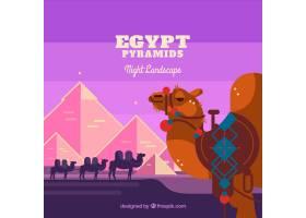 平坦的夜景有埃及金字塔和骆驼大篷车_2730929