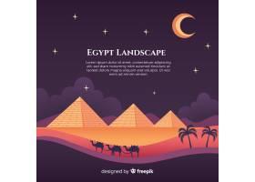 平坦的夜景有埃及金字塔和骆驼大篷车_2730940