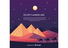 平坦的夜景有埃及金字塔和骆驼大篷车_2730941