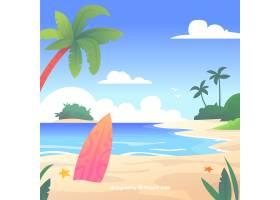 平坦设计的热带天堂海滩_2730570