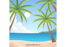平坦设计的热带天堂海滩_2730572
