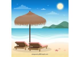 平坦设计的热带天堂海滩_2730575