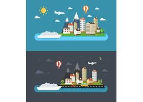 平坦风格的城市景观日夜城市矢量插图_10701009