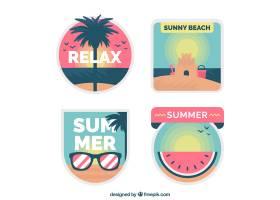 平面设计中的夏日可爱标签系列_2786604