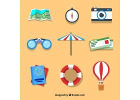 平面设计的夏季旅行元素集合_2354636