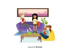 平面设计的女性角色在室内共度时光_5359441