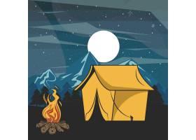 夜景中的森林野营探险_4827870