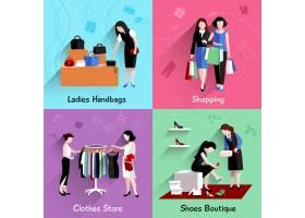 女性购物设计概念集与手袋衣服鞋店平_4368419