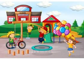 孩子们在学校操场上玩耍_4567223