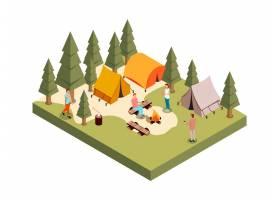 室外森林聚会等距构图多边形树木之间有一_4359222