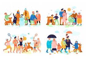家庭与孩子父母和祖父母在户外夏冬春秋平_7497406