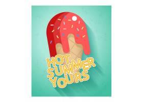带扁平冰激凌的炎热夏日促销横幅模板_11059032