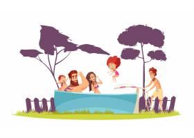 家庭活动暑假家长和孩子在游泳池里玩跳板卡_7250432