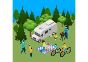 家庭野餐夏季户外等距构图森林野营烧烤午餐_6931247