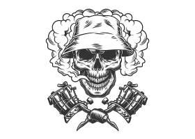 巴拿马帽子里的复古骷髅_7983938