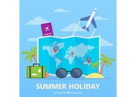 带有夏季旅行元素的平面地图_2338234
