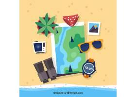 带有夏季旅行元素的平面地图_2338236