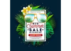 带有太阳镜和充满异国情调的棕榈叶的夏季促_4916326