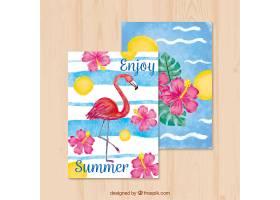 带有弗拉门戈和鲜花的美丽的夏季水彩卡_1127482