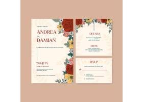 带有春季线条艺术概念设计水彩插图的婚卡邀_12954301